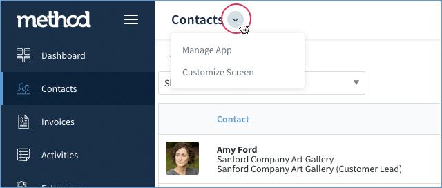 Method CRM screen customization link