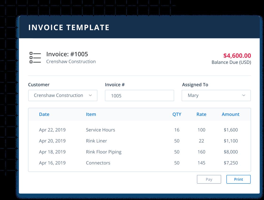 Invoice screen in Method:CRM custom CRM