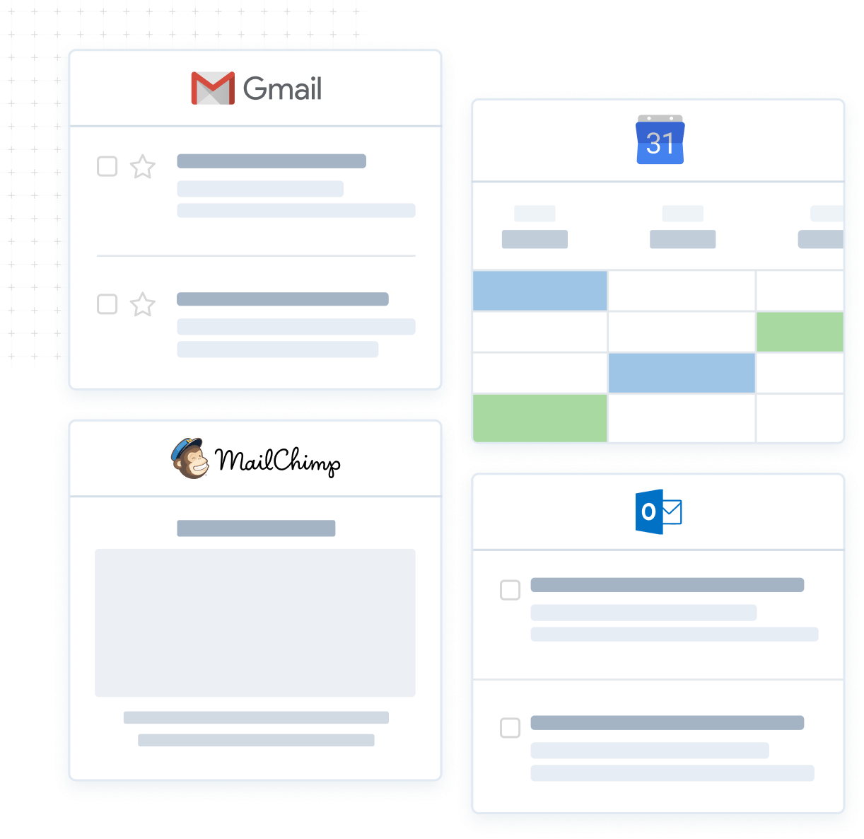 CRM integrations with Gmail Outlook Mailchimp Google Calendar