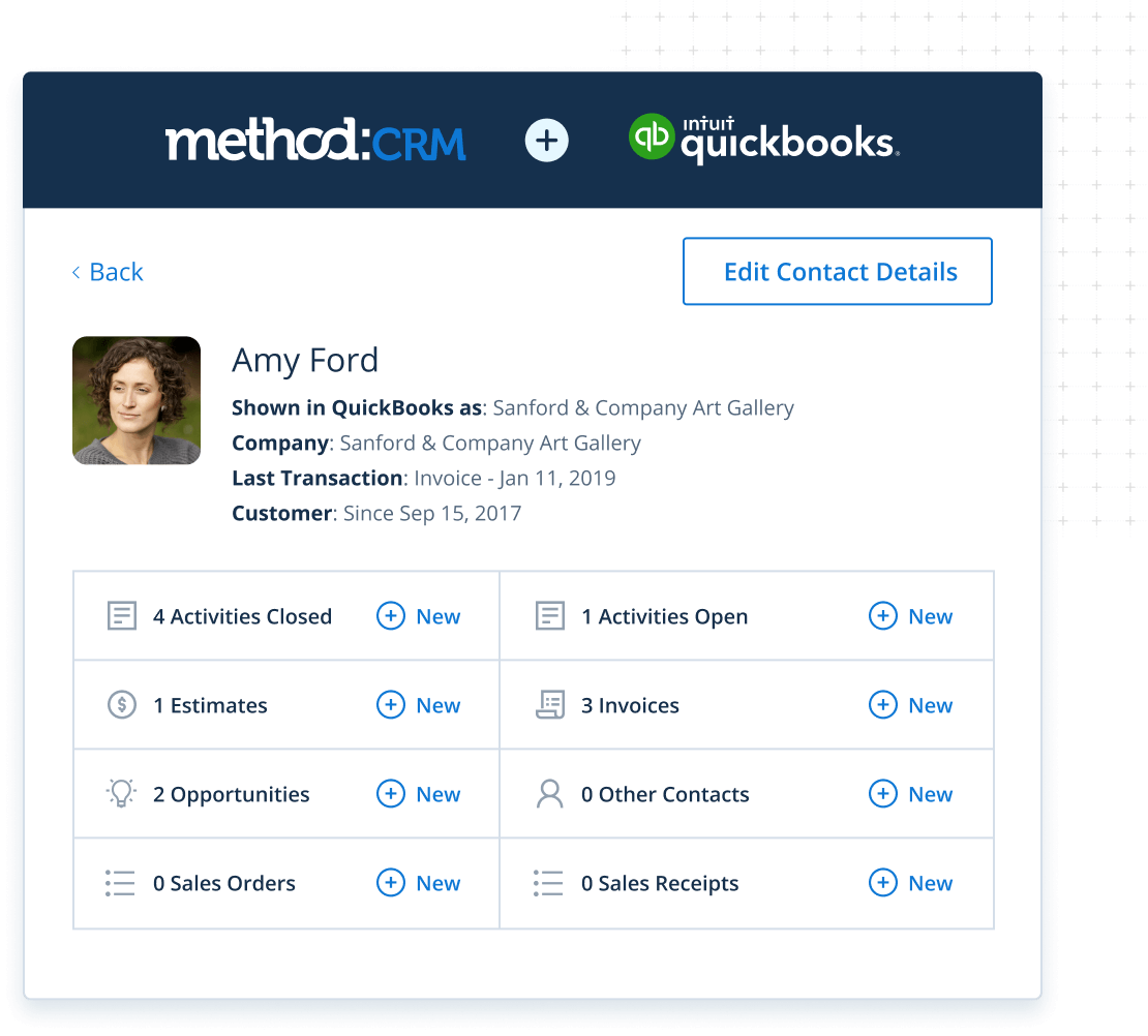 Contact screen in Method CRM for QuickBooks Enterprise