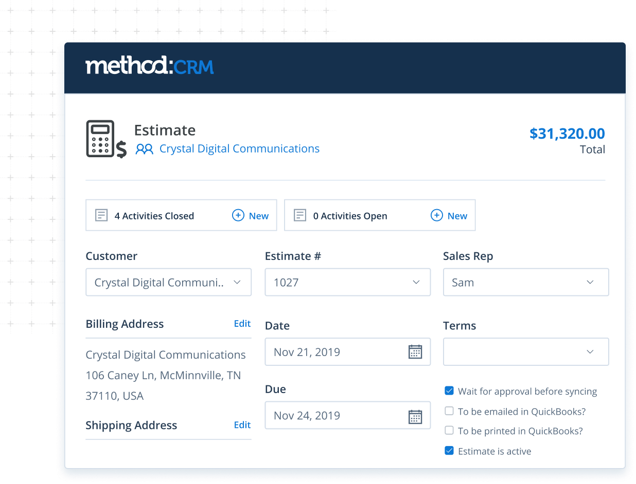 Estimate screen in Method CRM for QuickBooks Enterprise