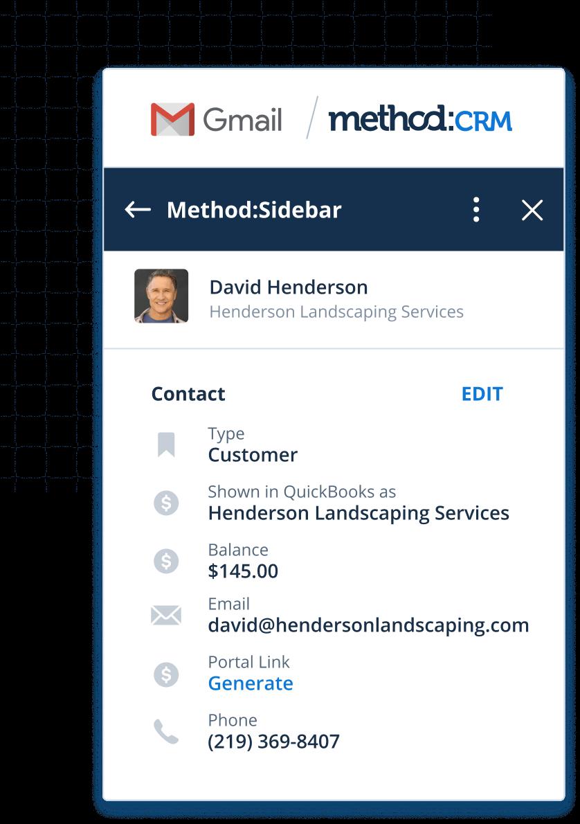 Customer summary screen in Method's CRM Gmail integration
