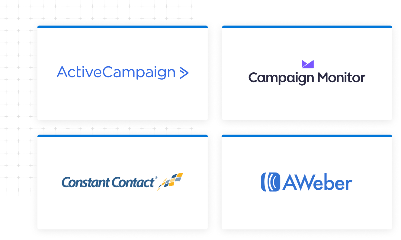 Tiles containing logos for ActiveCampaign Campaign Monitor Constant Contact AWeber