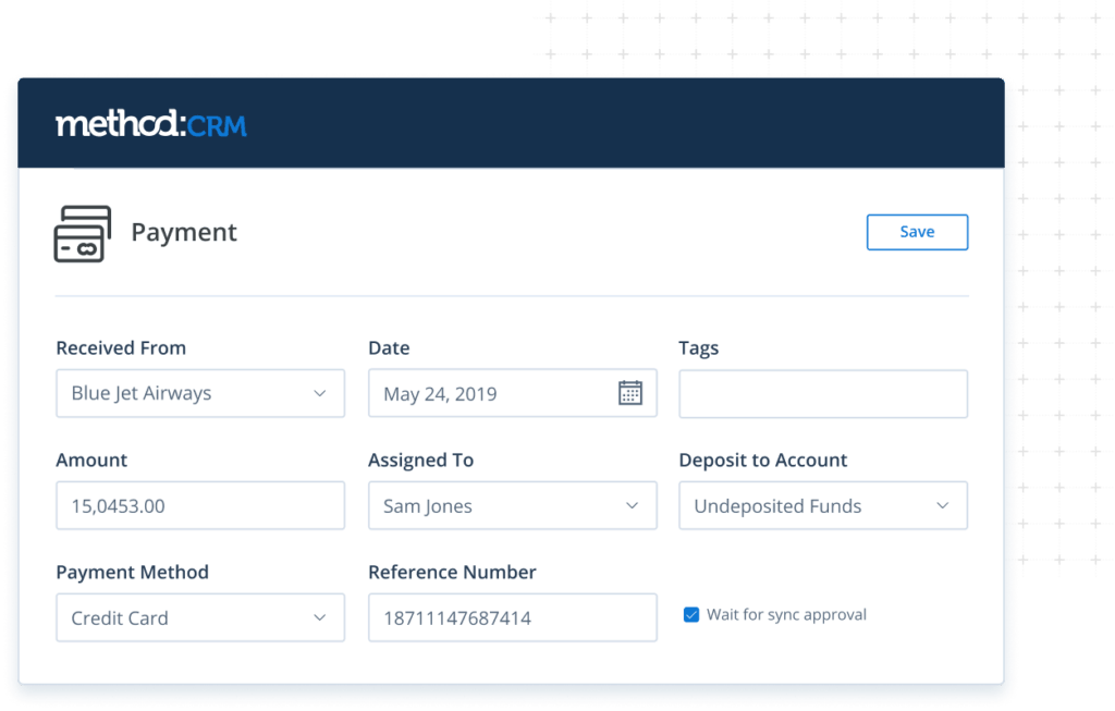 Payment screen in Method CRM for construction companies