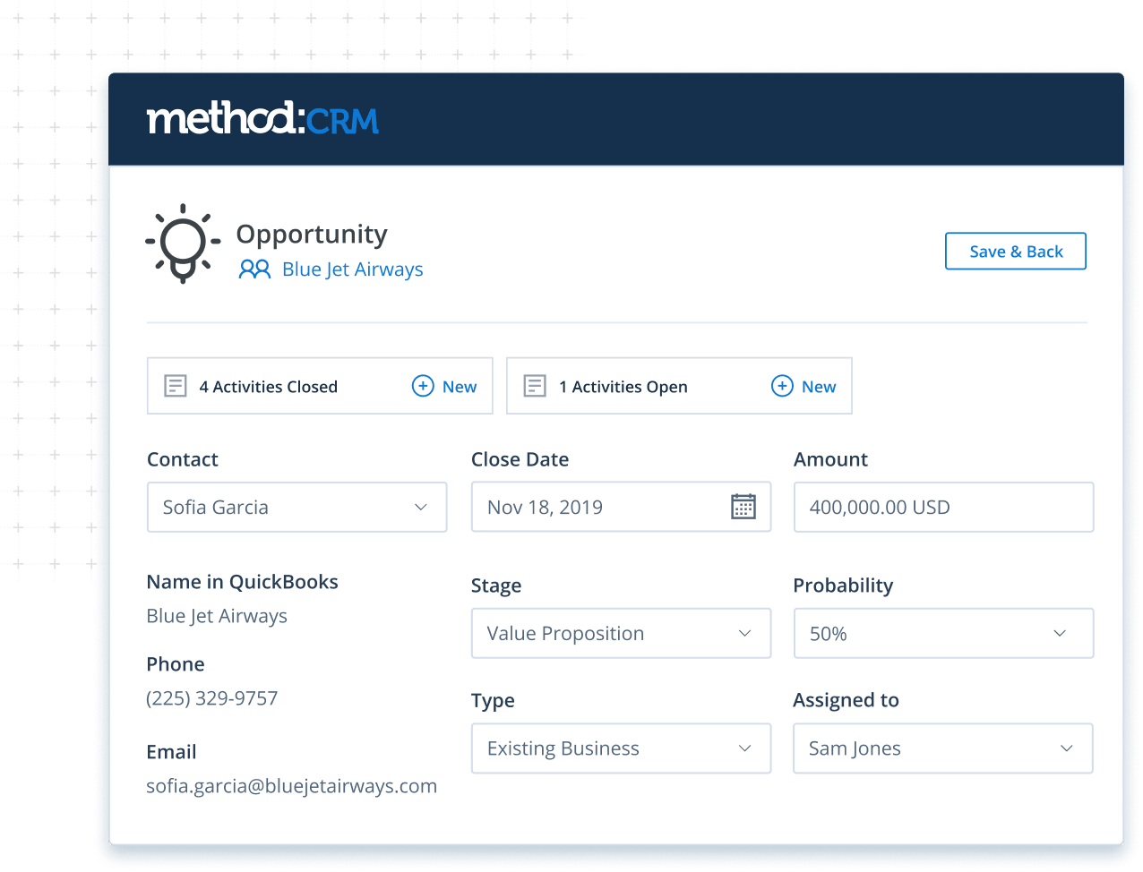 Opportunity screen in Method CRM for construction companies