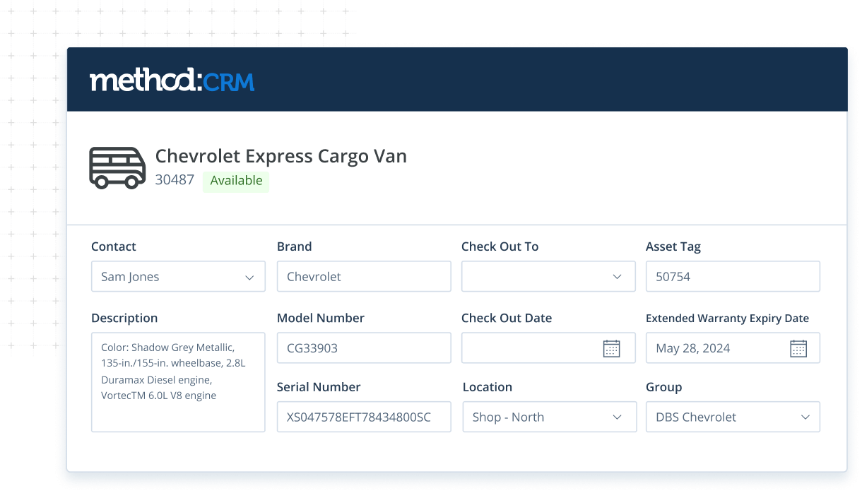 Equipment management screen in Method CRM field service management software