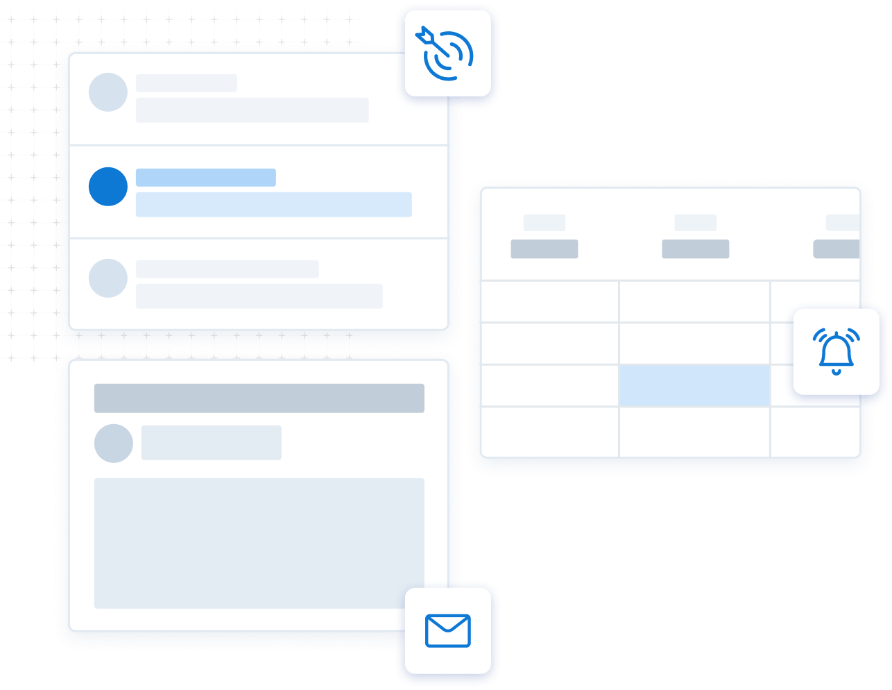 Graphic showing a contact list, calendar, and email template