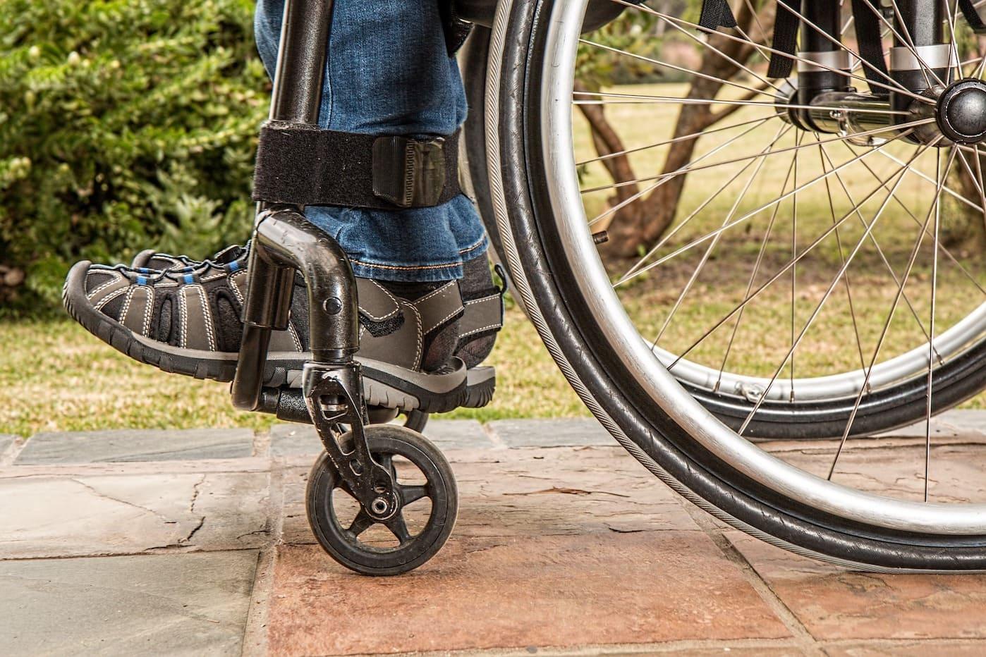 Closeup of man's feet in wheelchair