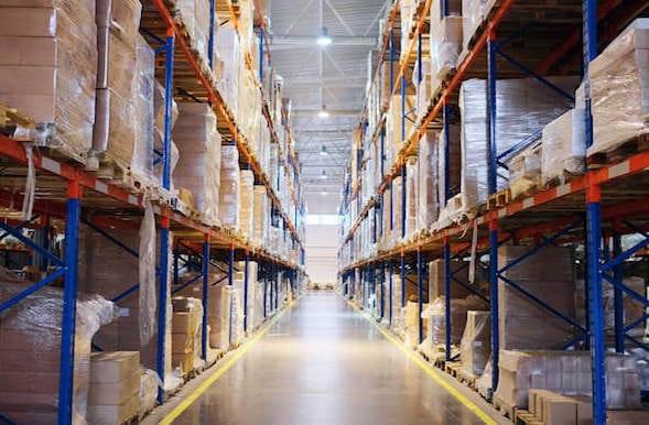 Boxes on warehouse shelves